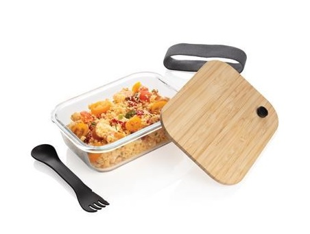 lunch box personnalisable en verre et bambou